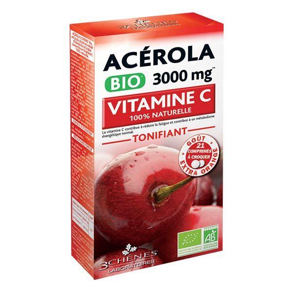 Les 3 Chênes Acérola Bio 3000mg Vitamine C 21 comprimés