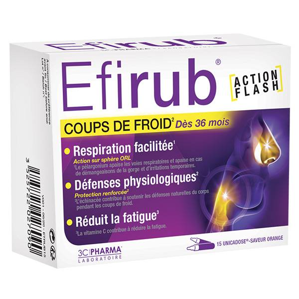 3C Pharma Efirub Saveur Orange 15 unicadoses