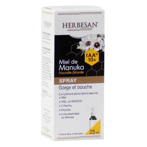 Herbesan Miel de Manuka IAA10+ Spray Gorge et Bouche Bio 25ml