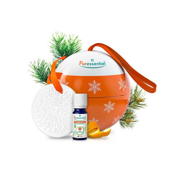 Puressentiel Boule de Noël Huile Essentielle Bio Orange Douce 10ml + Diffuseur Céramique Galet