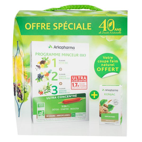 Arkopharma Arkofluides Programme Minceur Bio 30 ampoules + Konjac 45 gélules Offert