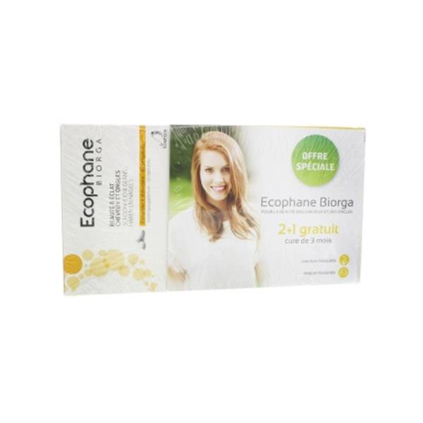 Bailleul Biorga Ecophane Beauté & Eclat Cheveux et Ongles Lot de 3 x 60 comprimés