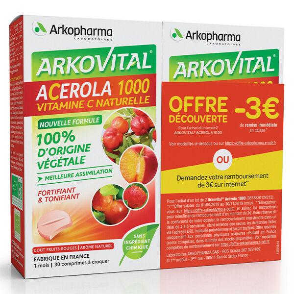 Arkopharma Arkovital Acerola 1000 Vitamine C Naturelle Lot 2 x 30 comprimés