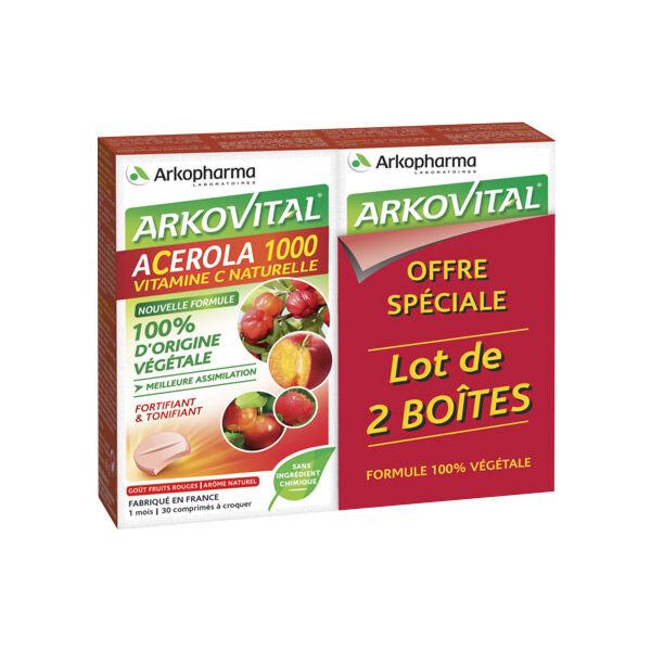 Arkopharma Acérola 1000 Lot de 2 x 30 comprimés à croquer