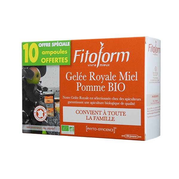 Fitoform Gelée Royale Miel Pomme Bio Ab Ecocert 20 ampoules + 10 Offertes