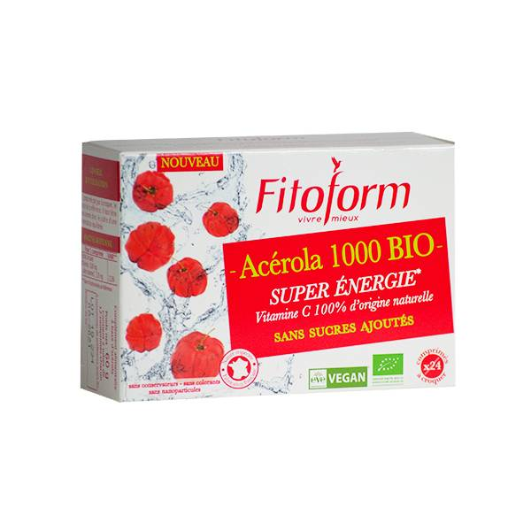 Fitoform Acérola Bio 1000mg sans sucre ajouté Lot de 2 x 12 comprimés