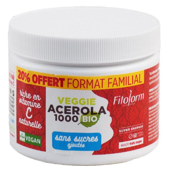 Fitoform Acérola Bio sans Sucre Ajouté 1000mg 60 comprimés dont 20% offert