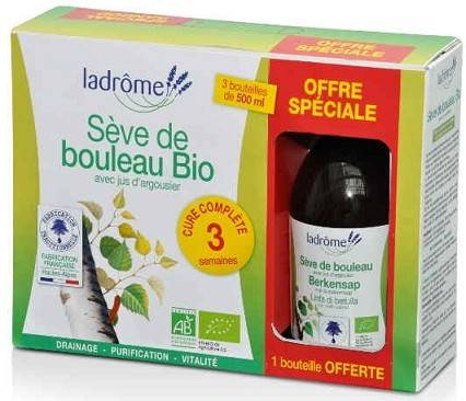 Ladrôme À Base de Plantes Fraîches Boisson Sève de Bouleau Lot de 2 x 500ml + 1 Offert