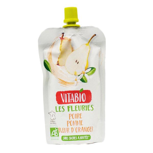 Vitabio Gourde Les Fleuries Poire Pomme Fleur d'Oranger 120g