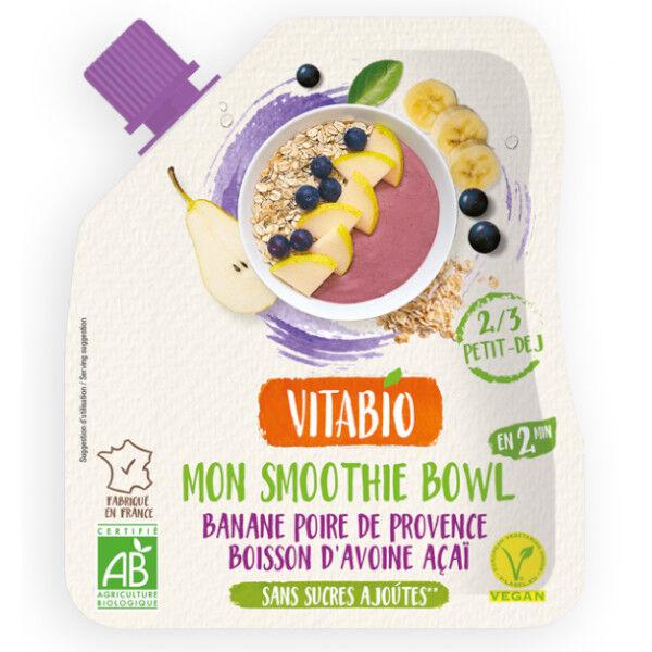 Vitabio Banane Poire Avoine Açaï pour Smoothie Bowl Vegan 350g