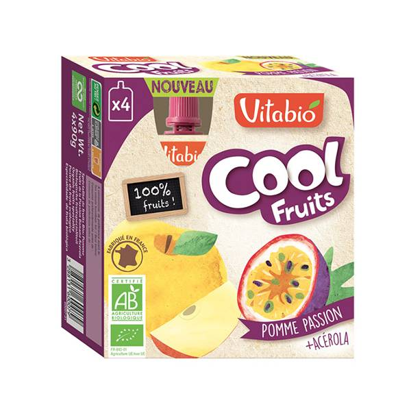 Vitabio Cool Fruits Pomme Passion + Acérola 4 x 90g