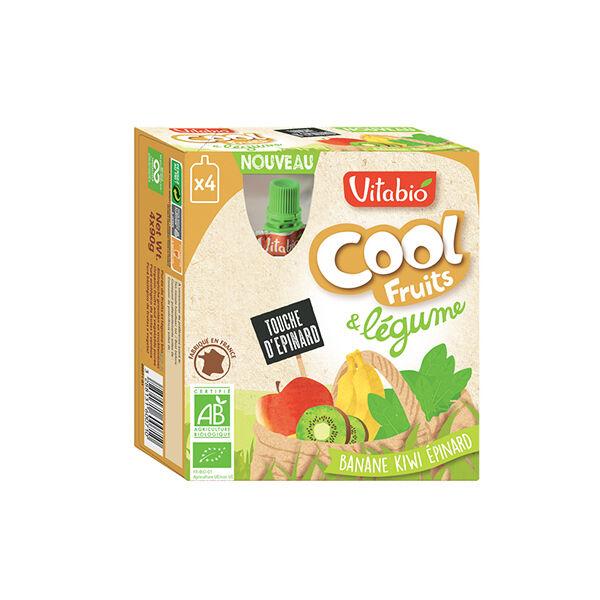 Vitabio Cool Fruits + Légumes Banane Kiwi Épinard 4 x 90g