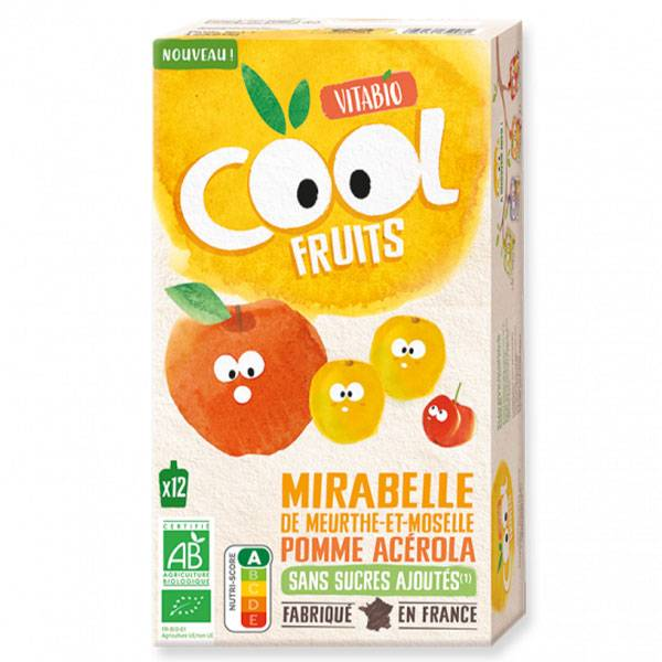 Vitabio Cool Fruits Gourde Mirabelle Pomme Acérola Bio Lot de 12 x 90g