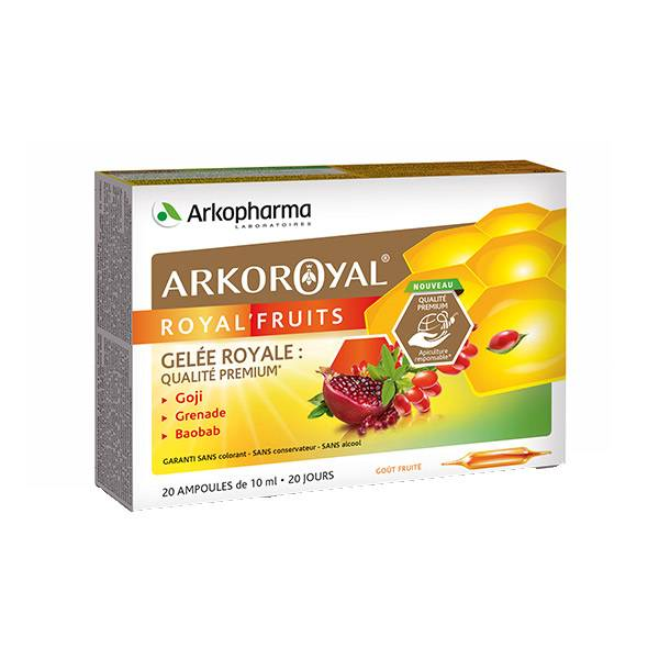 Arkopharma Arkoroyal Royal'Fruits Goût Fruité 20 Ampoules