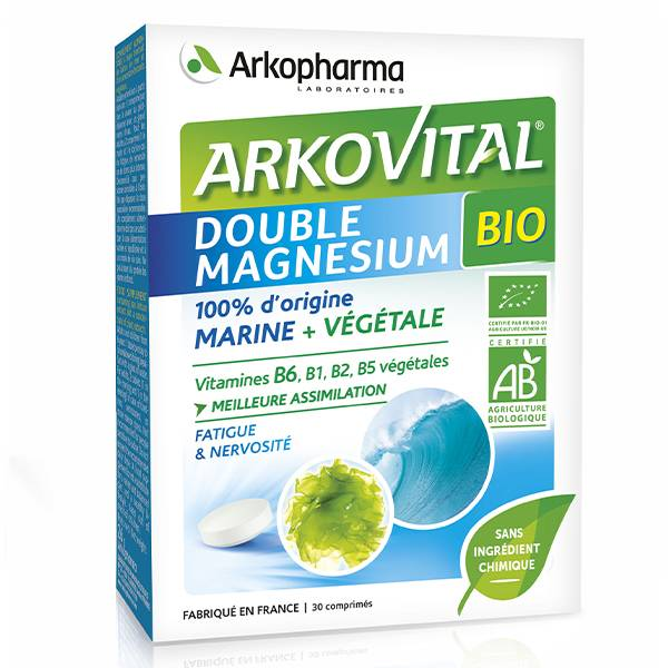 Arkopharma Arkovital Double Magnésium Vitamines Végétales Bio 30 comprimés
