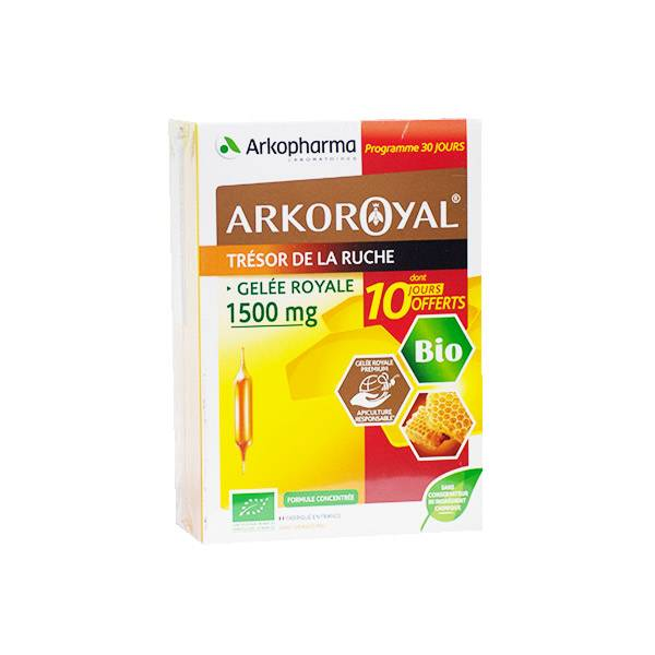 Arkopharma Arkoroyal Edition Limitée Gelée Royale Bio 1500mg 20 ampoules + 10 Offertes