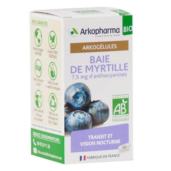 Arkopharma Arkogélules Baie de Myrtille Bio 40 gélules