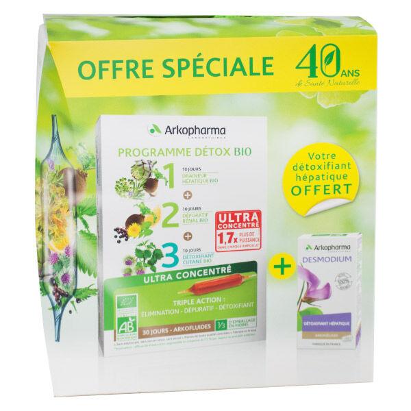 Arkopharma Arkofluides Programme Détox Bio 30 ampoules + Arkopharma Arkogélules Desmodium 45 gélules Offert