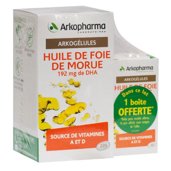 Arkopharma Arkogélules Huile de Foie de Morue 200 capsules + 60 capsules Offertes