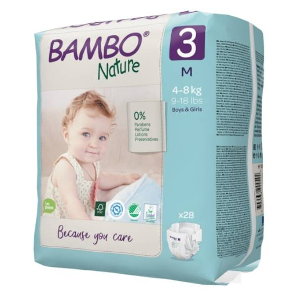 Bambo Nature Couche Taille 3 4-8kg 28 unités