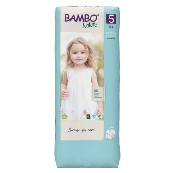Bambo Nature Couche Taille 5 12-18kg Tall Pack 44 unités