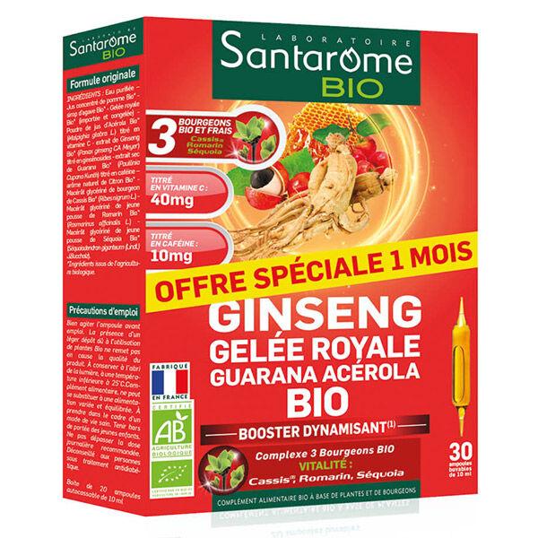 Santarome Bio Ginseng Gelée Royale Guarana Acérola Bio 30 ampoules