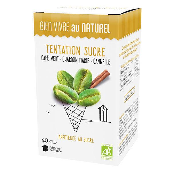 Bien Vivre au Naturel Tentation Sucre Café Vert Chardon Marie Cannelle Bio 40 gélules