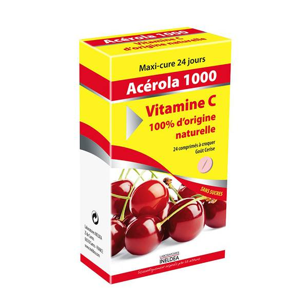 Ineldea Acérola 1000 Vitamine C Naturelle 24 comprimés à croquer