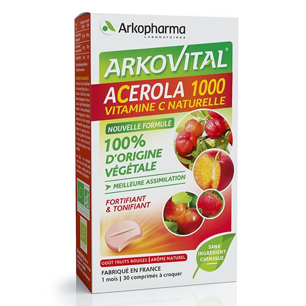 Arkopharma Arkovital Acerola 1000 Vitamine C Naturelle 30 comprimés