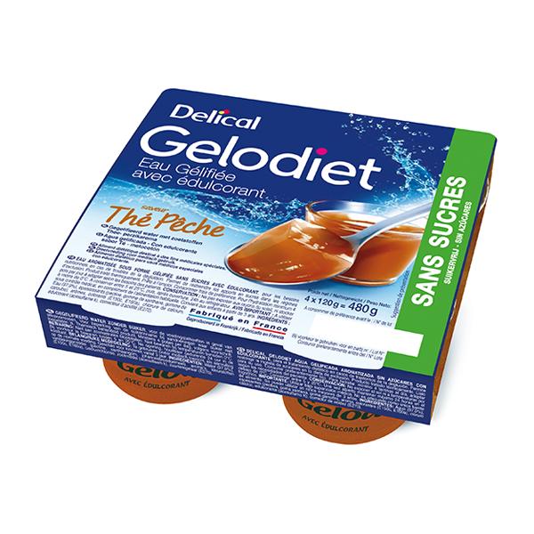 Delical Gelodiet Eau Gélifiée Edulcorée sans Sucres Thé Pêche 4 x 120g