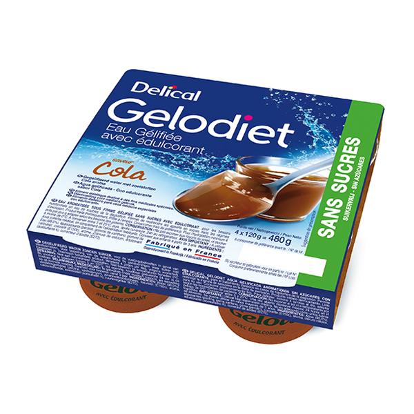 Delical Gelodiet Eau Gélifiée Edulcorée sans Sucres Cola 4 x 120g