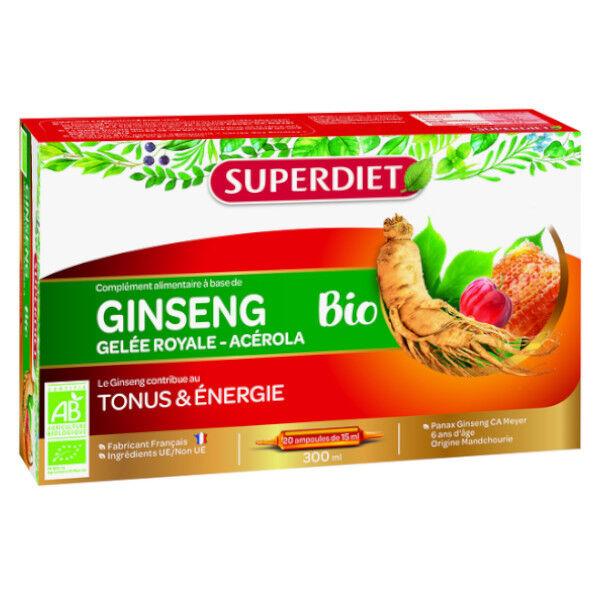 Superdiet Ginseng Bio Gelée Royale & Acérola 20 ampoules