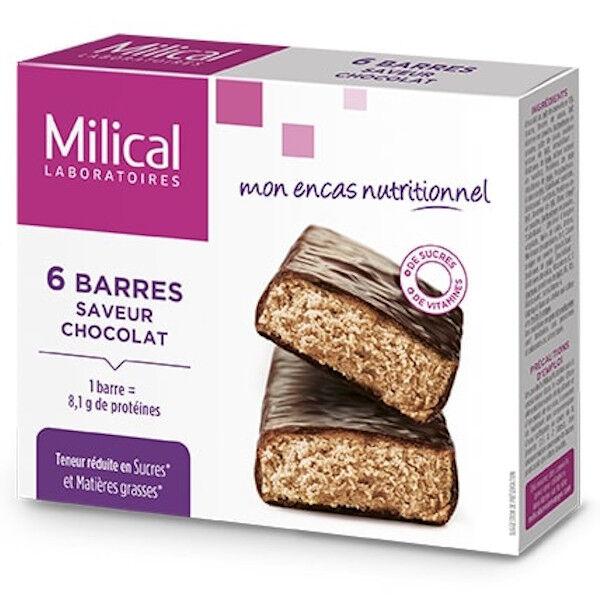 Milical Barres Minceur Hyperprotéinées Chocolat 6 Unités