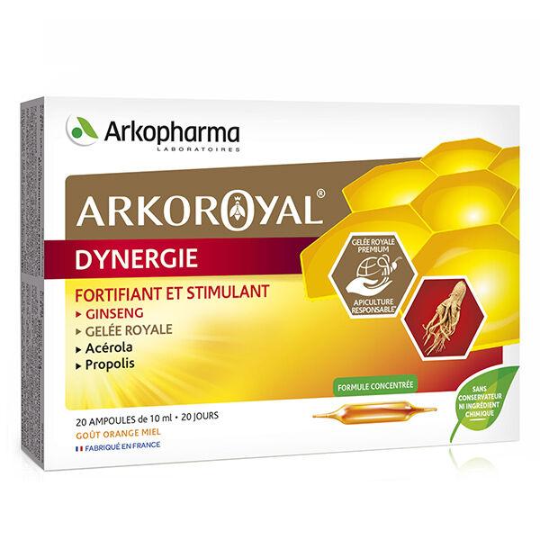 Arkopharma Arkoroyal Dynergie Ginseng Gelée Royale Acerola Propolis Goût Orange 20 ampoules