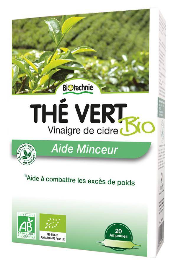 Biotechnie Thé Vert et Vinaigre de Cidre Bio Aide Minceur 20 ampoules