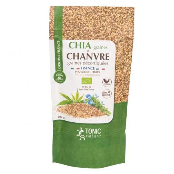 Tonic Nature Chia Graine et Chanvre Graines Décortiquées Bio France 200g