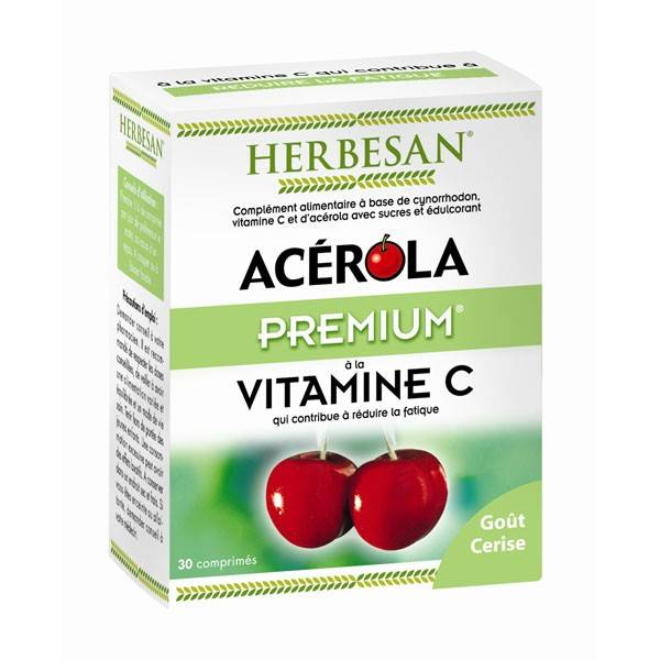 Herbesan Acérola Premium Vitamine C 500 30 comprimés à croquer