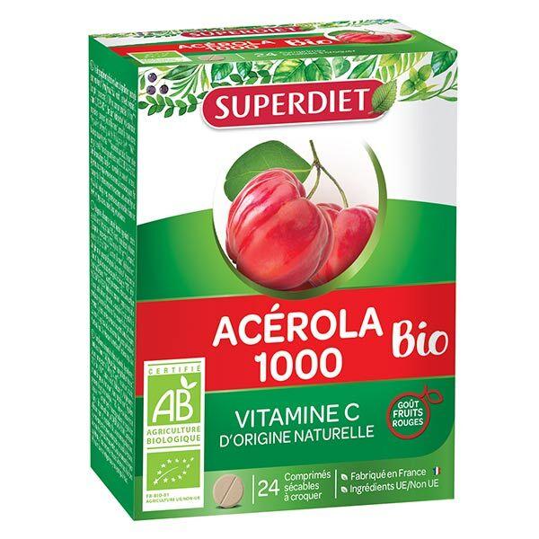 Superdiet Acérola 1000 Bio 24 comprimés à croquer