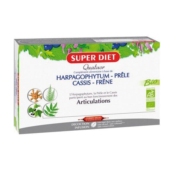 SuperDiet Super Diet Quatuor Articulations Bio Prêle Frêne Cassis Harpagophytum 20 ampoules