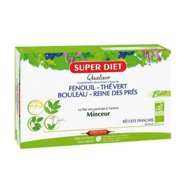 Super Diet Quatuor Thé Vert Minceur Bio Reine des Prés 20 ampoules