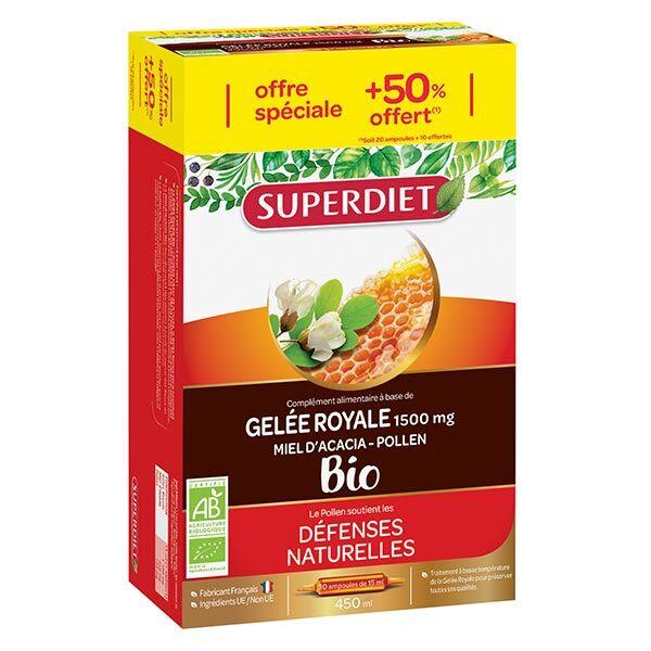 Superdiet Gelée Royale Miel d'Acacia Pollen Bio - 20 ampoules de 15ml + 10 offertes