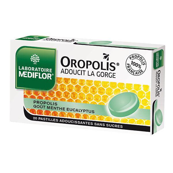 Oropolis Menthe Eucalyptus sans sucre 20 pastilles