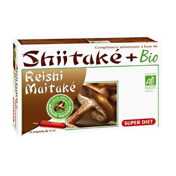 Super Diet Shiitaké + Bio - Shiitaké Reishi Maïtaké - 20 ampoules de 15ml