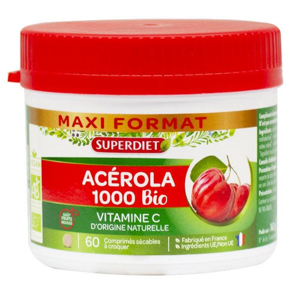 Superdiet Maxi Pot Acérola 1000 Bio - 60 comprimés à croquer