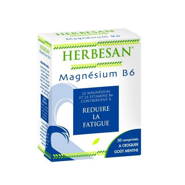 Herbesan Magnésium B6 30 comprimés à croquer Goût Menthe
