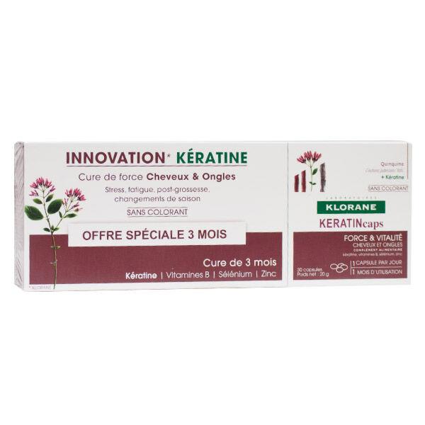 Klorane Quinine KeratinCaps Cheveux & Ongles Lot de 3 x 30 capsules