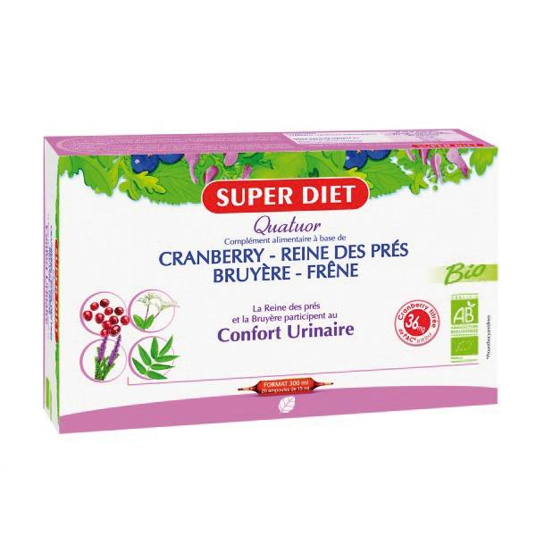 SuperDiet Super Diet Quatuor Reine des Prés Confort Urinaire Bio 20 ampoules de 15ml