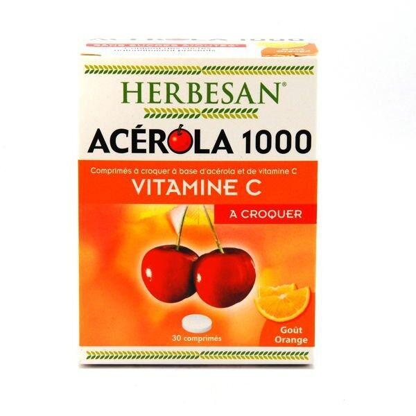 Herbesan Acérola 1000 Vitamine C à croquer goût Orange 30 comprimés