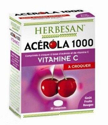Herbesan Acérola 1000 Vitamine C à croquer Goût Fruits Rouges 30 comprimés