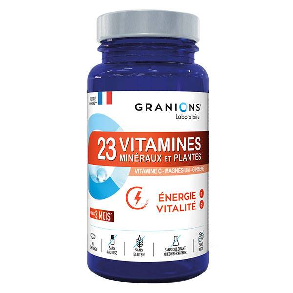 Laboratoire des Granions Granions 23 Vitamines Minéraux et Plantes Énergie Vitalité 90 comprimés